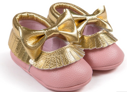 Baby Bow Fringe Mocs - Gold On Pink - Three Bears Kids