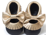 Baby Bow Fringe Mocs - Gold On Black - Three Bears Kids