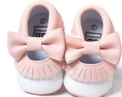 Baby Bow Fringe Mocs - Pink - Three Bears Kids