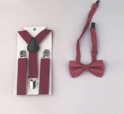 Suspenders And Spotted Bow Tie - Burgandy - Three Bears Kids
