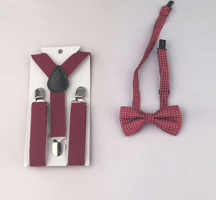 Suspenders And Spotted Bow Tie - Burgandy
