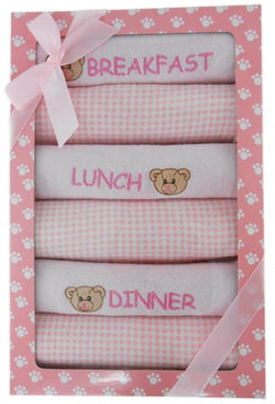 Elka 6 Day Meal Bib Set - Pink - Three Bears Kids