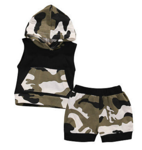 Camo Hoodie & Shorts 2 Piece Set - Three Bears Kids