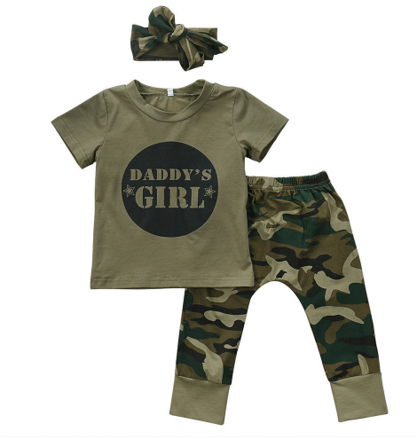 Daddy's Girl 3 Piece Camo Set With Headband - Three Bears Kids