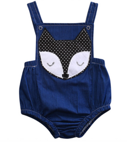 Denim Fox Romper - Three Bears Kids