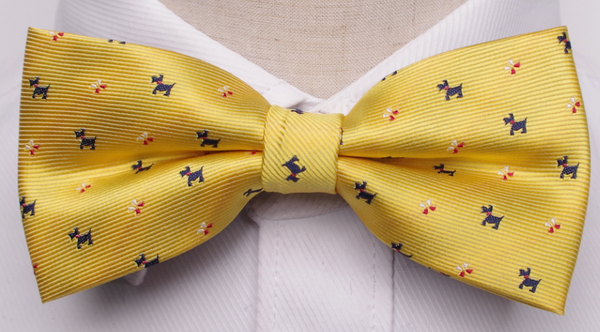 Bow Tie - Yellow Dog Pattern