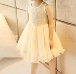 Glitter Girl Party Dress - Cream - Three Bears Kids