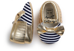 Baby Bow Mocs - Gold Bow - Three Bears Kids