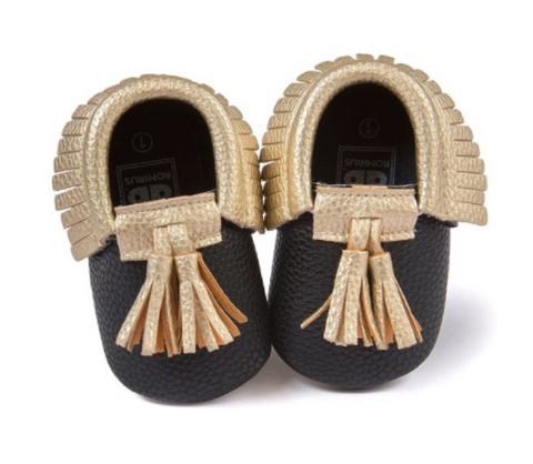 Baby Tassel Mocs - Gold And Black - Three Bears Kids