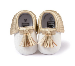 Baby Tassel Mocs - Gold And White - Three Bears Kids