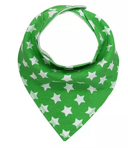 Bandana Bib - Green with White Stars