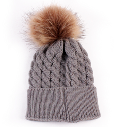 Beanie - Thick Cable With Pom Pom -  Grey - Three Bears Kids