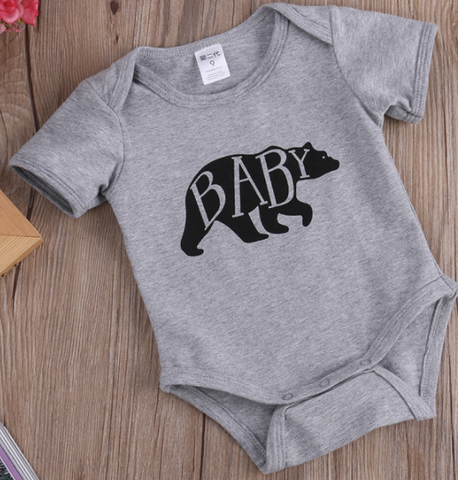 Grey Baby Bear Romper - Three Bears Kids