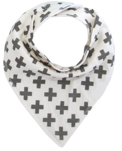 Bandana Bib - Grey Crosses