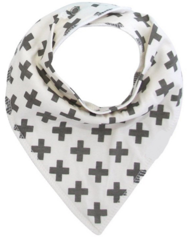 Bandana Bib - Grey Crosses - Three Bears Kids