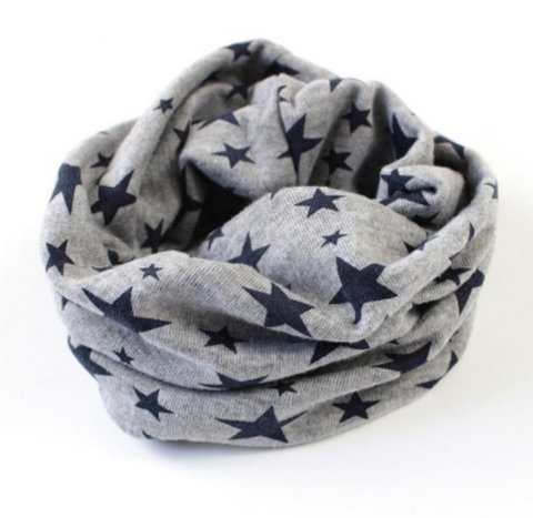 Scarf - Grey With Navy Stars - Three Bears Kids
