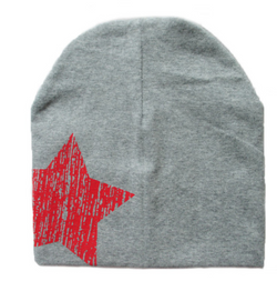 Beanie - Grey And Red Star - Three Bears Kids
