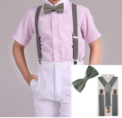 Suspenders And Satin Bow Tie - Grey - Three Bears Kids