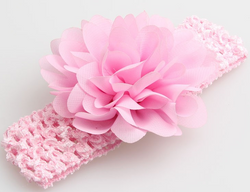 Chiffon Flower Headband - Pink - Three Bears Kids