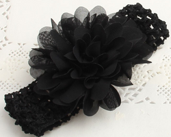 Chiffon Flower Headband - Black - Three Bears Kids
