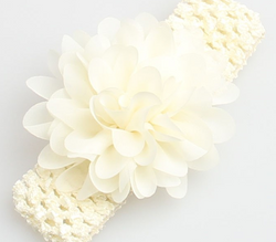 Chiffon Flower Headband - Cream - Three Bears Kids