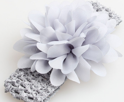 Chiffon Flower Headband - Grey - Three Bears Kids