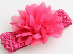 Chiffon Flower Headband - Hot Pink - Three Bears Kids