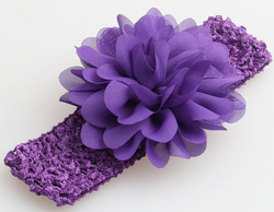 Chiffon Flower Headband - Purple - Three Bears Kids