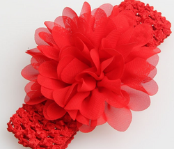 Chiffon Flower Headband - Red - Three Bears Kids