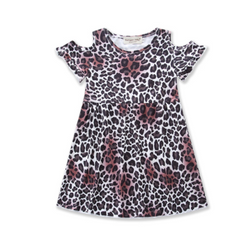 Julie Leopard Off Shoulder Dress - Three Bears Kids