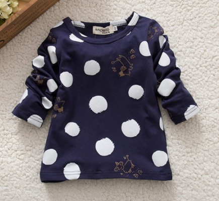 Dotty Long Sleeve Top - Navy