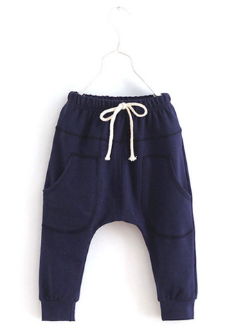 Navy Harem Pants - Three Bears Kids