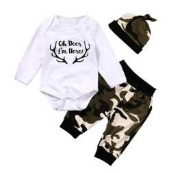 Oh Deer I'm Here Romper 3 Piece With Beanie Set