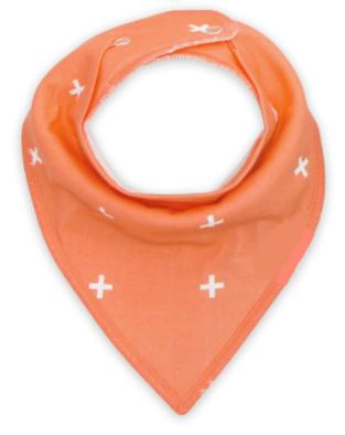 Bandana Bib - Coral And White Crosses - Three Bears Kids
