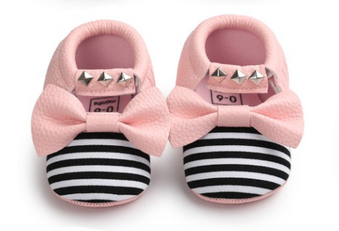 Baby Bow Mocs - Pink Bow - Three Bears Kids