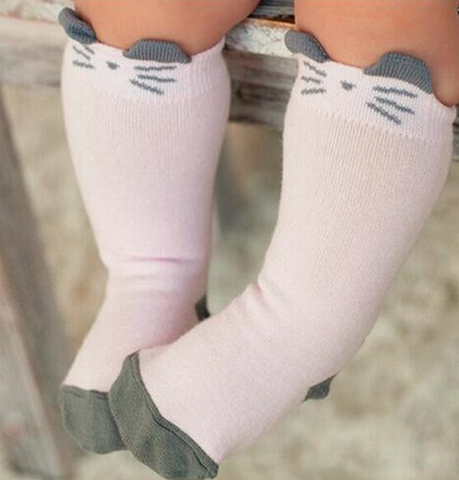 Socks - Pale Pink Cat Knee Hi - Three Bears Kids