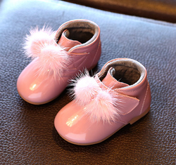 Patent Baby Booties - Pink