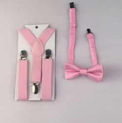 Suspenders And Spotted Bow Tie - Pink - Three Bears Kids