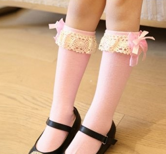 Socks - Lace And Bow Pink