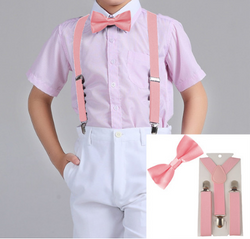Suspenders And Satin Bow Tie - Pink - Three Bears Kids