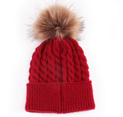 Beanie - Thick Cable With Pom Pom -  Deep Red - Three Bears Kids