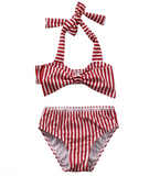 Red Candy Striped Bikini - Three Bears Kids
