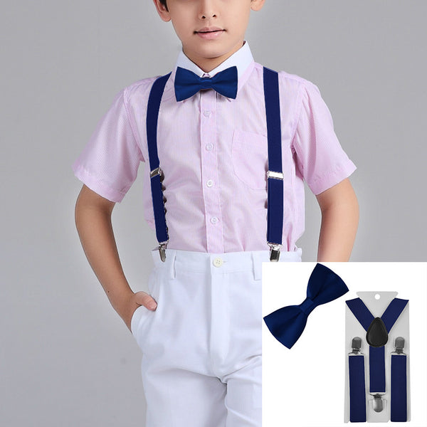 Suspenders And Satin Bow Tie - Royal Blue