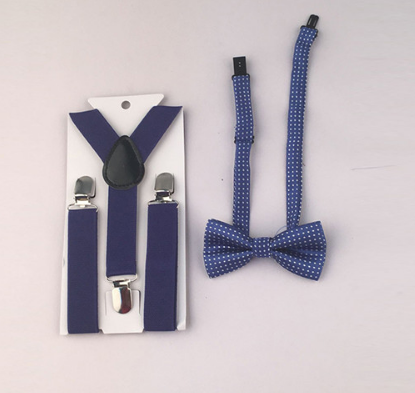 Suspenders And Spotted Bow Tie - Royal Blue