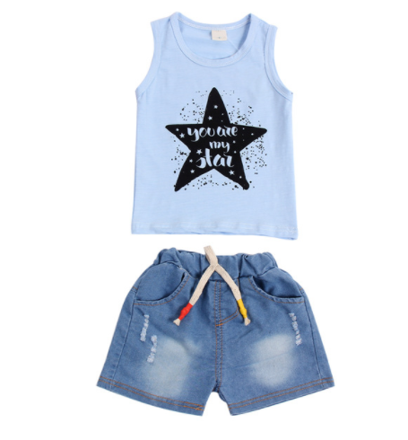 Star Top And Jean Shorts - Blue