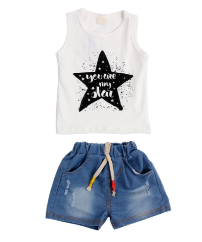 Star Top And Jean Shorts - White