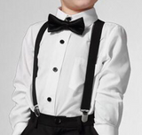 Suspenders And Satin Bow Tie - White - Three Bears Kids