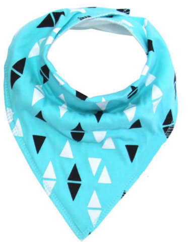 Bandana Bib -  Blue and Triangles - Three Bears Kids