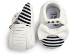 Baby Bow Mocs - White Bow - Three Bears Kids