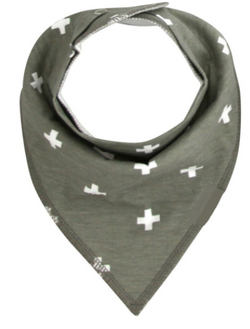 Bandana Bib - White Crosses